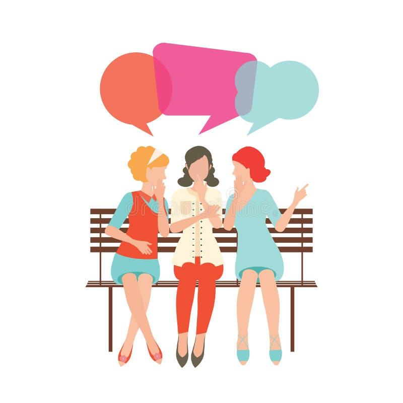 Beeldverhaalkarakter van vrouwen met de kleurrijke bellen van de dialoogtoespraak stock illustratie