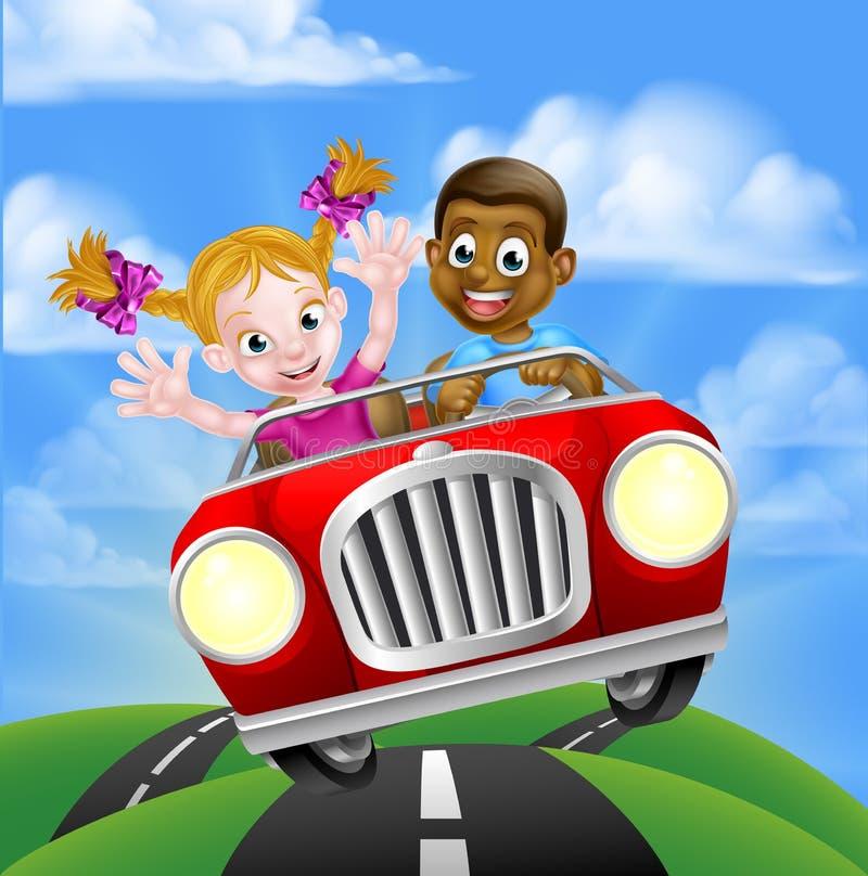 Beeldverhaalkarakters die Auto drijven stock illustratie