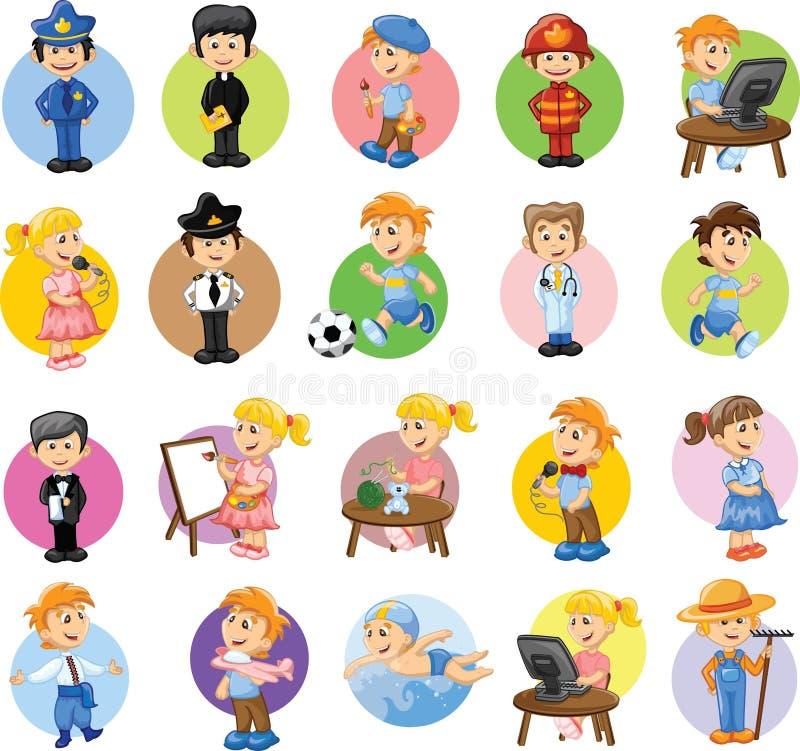 Beeldverhaalkarakters van verschillende beroepen vector illustratie