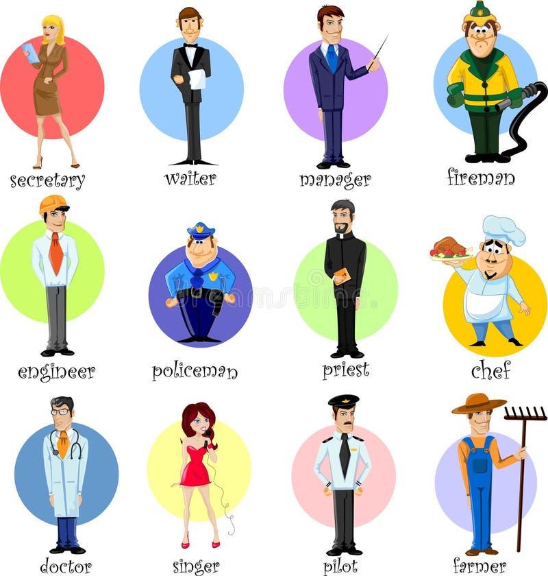 Beeldverhaalkarakters van verschillende beroepen stock illustratie