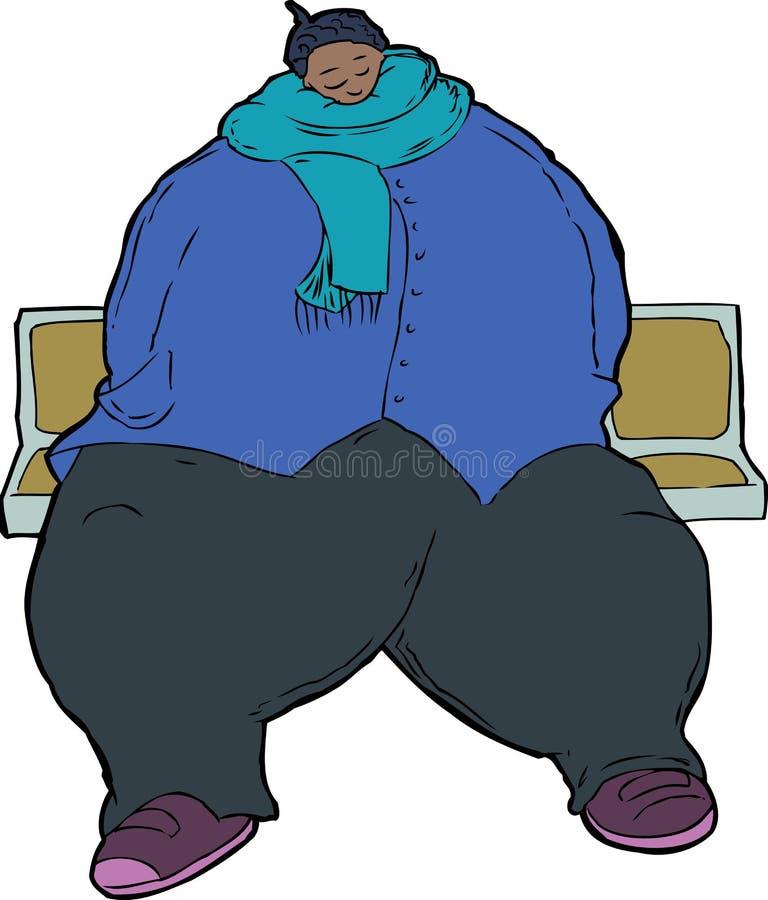 Beeldverhaalkarikatuur van zwaarlijvige vrouw royalty-vrije illustratie