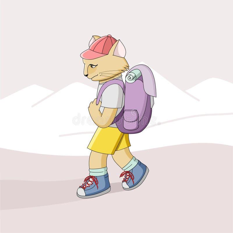 Beeldverhaalkat in kleren met een rugzak op zijn rug vector illustratie