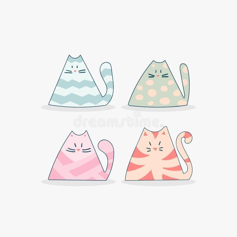Beeldverhaalkatten in krabbelstijl Kleurrijke grappige dierlijke reeks royalty-vrije illustratie