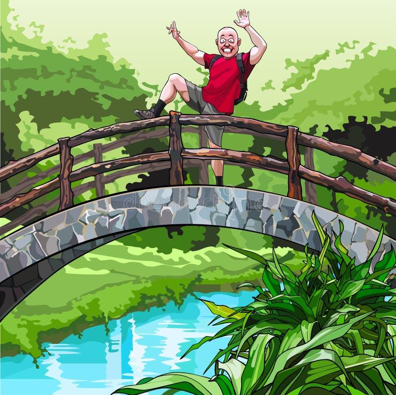 Beeldverhaalkerel met een rugzak, die rond op de decoratieve brug in het park voor de gek houden stock illustratie
