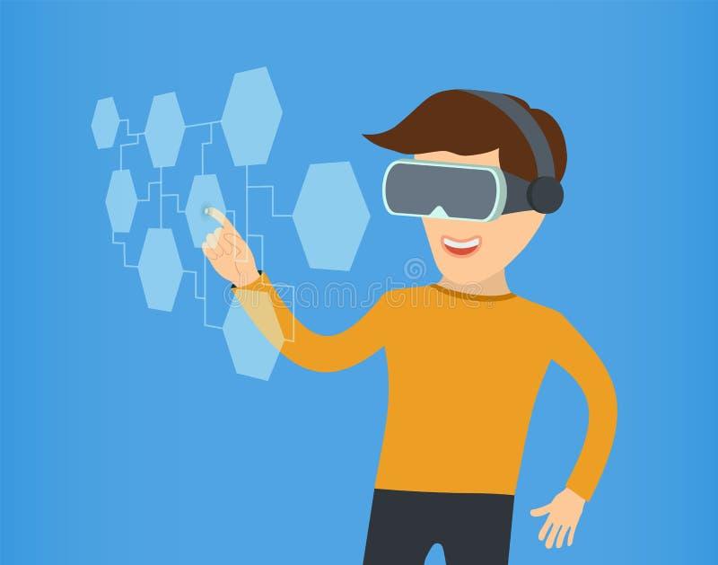 Beeldverhaalkerel in virtuele werkelijkheid met glazen Vectoreps 10 royalty-vrije illustratie