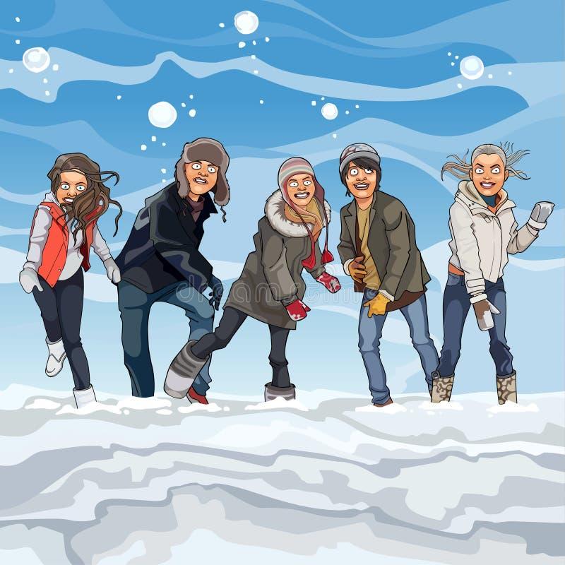 Beeldverhaalkerels en meisjes die sneeuwballen in de winter spelen vector illustratie