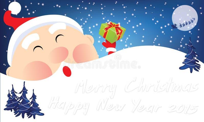 Beeldverhaalkerstmis Santa Cute royalty-vrije stock afbeelding