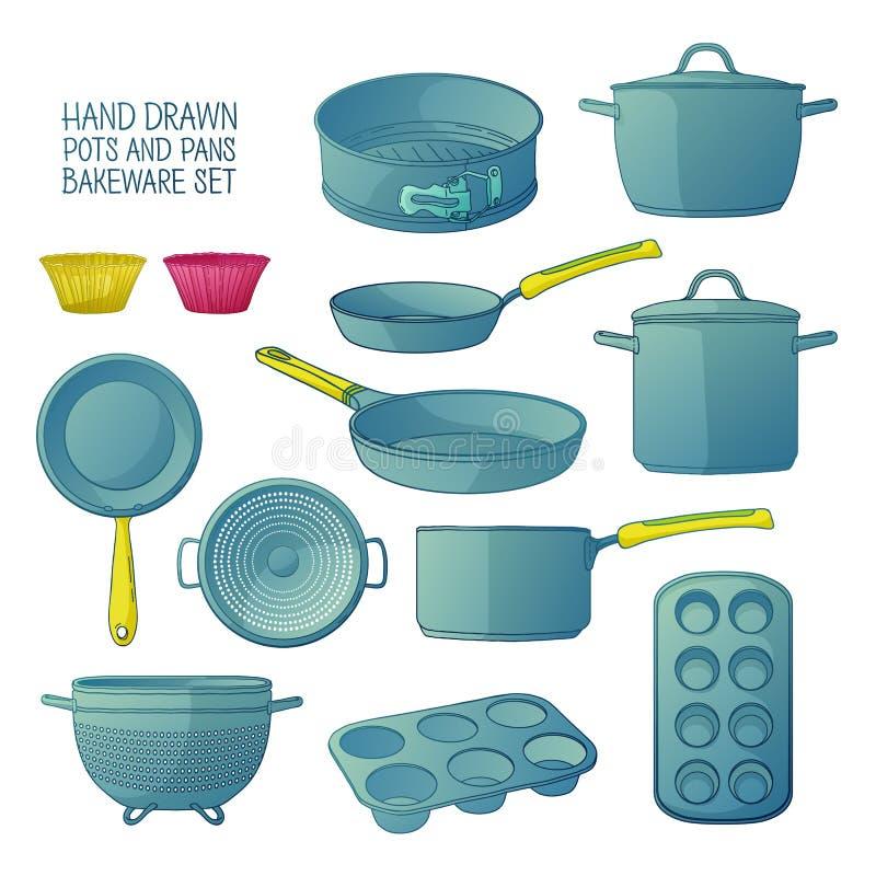 Beeldverhaalkeukengerei voor baksel Een reeks schotels voor baksel: pan, steelpan, een vergiet Vormen voor cupcakes royalty-vrije illustratie