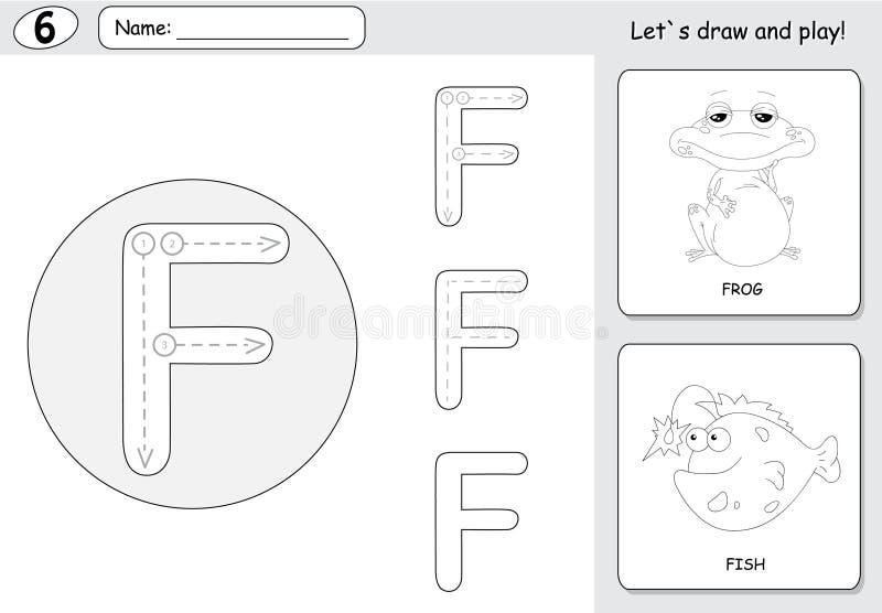 Beeldverhaalkikker en vissen Alfabet vindend aantekenvel: het schrijven A-Z a stock illustratie