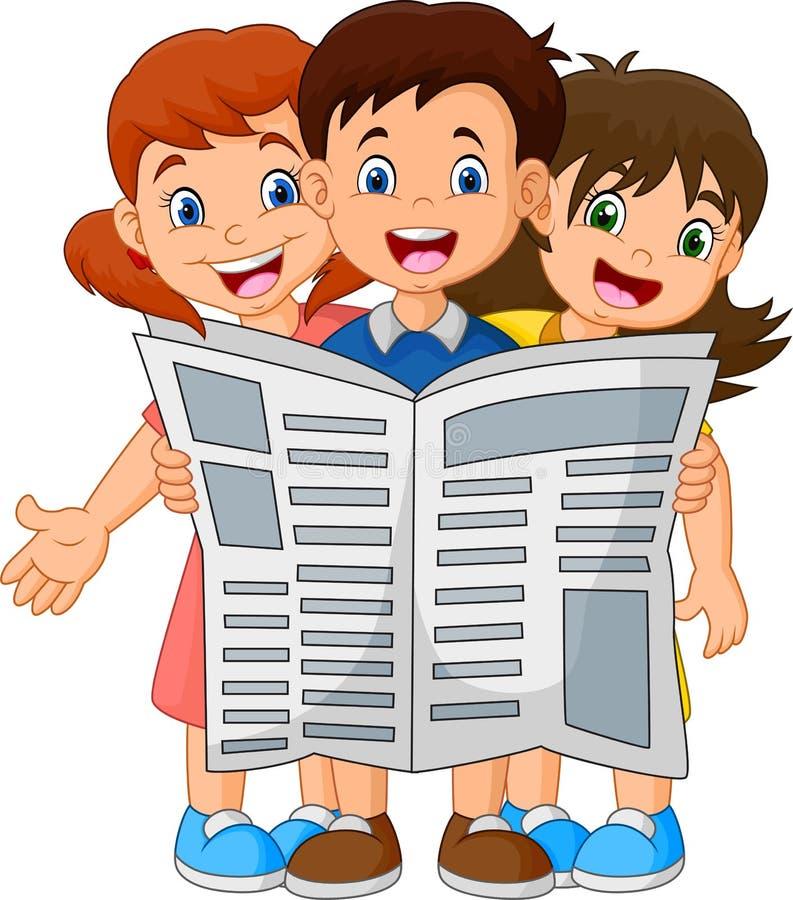 Beeldverhaalkinderen die een krant lezen royalty-vrije illustratie