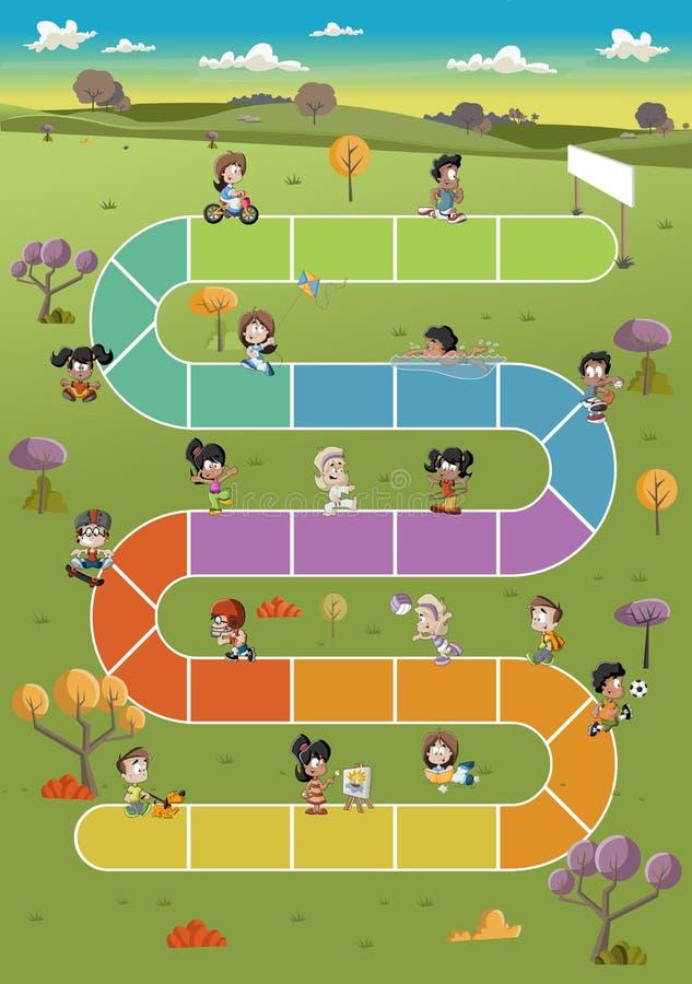 Beeldverhaalkinderen die over weg op het groene park spelen stock illustratie