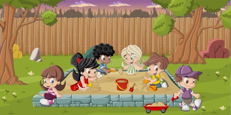 Beeldverhaalkinderen het spelen royalty-vrije illustratie