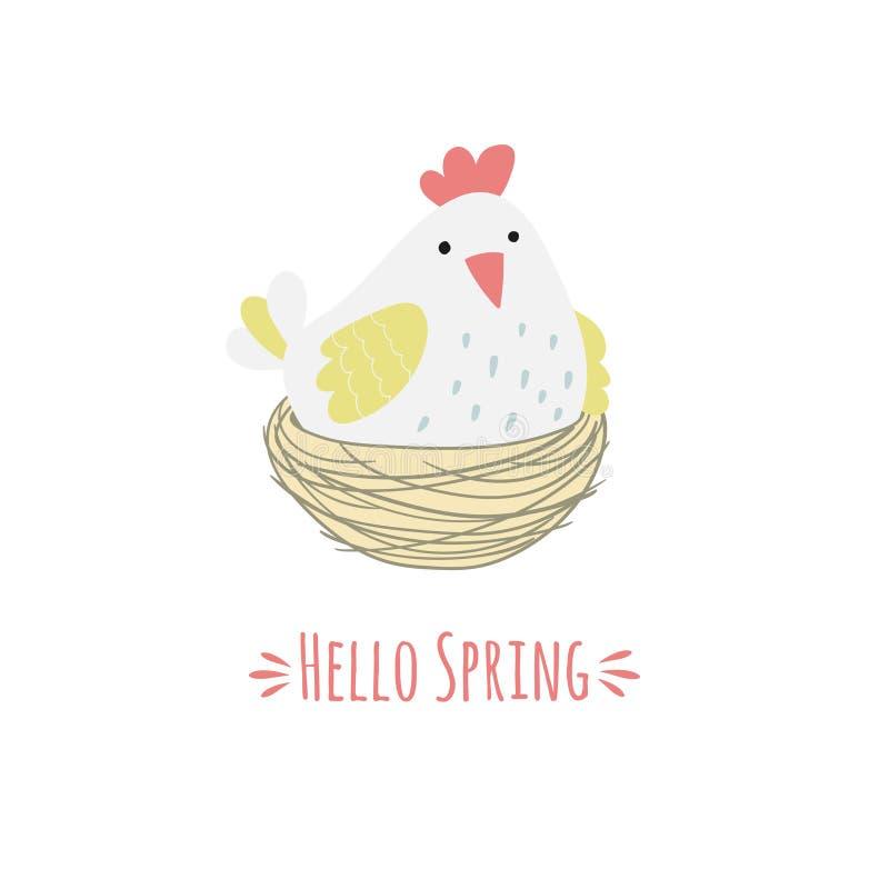 Beeldverhaalkip in het nest en de inschrijvings hello lente royalty-vrije illustratie
