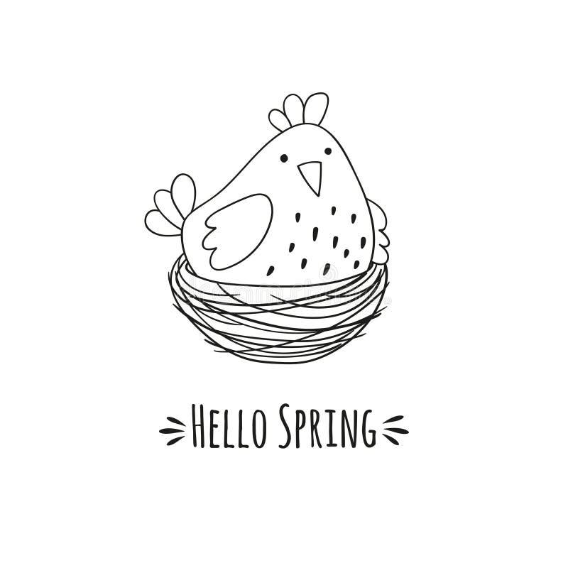 Beeldverhaalkip in het nest en de inschrijvings hello lente vector illustratie