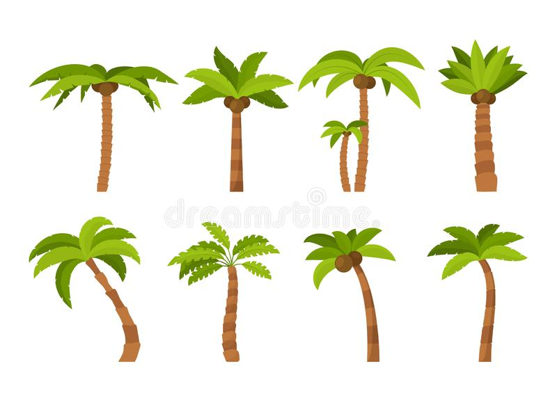 Beeldverhaalkleur Palma Tree Icon Set Vector stock illustratie