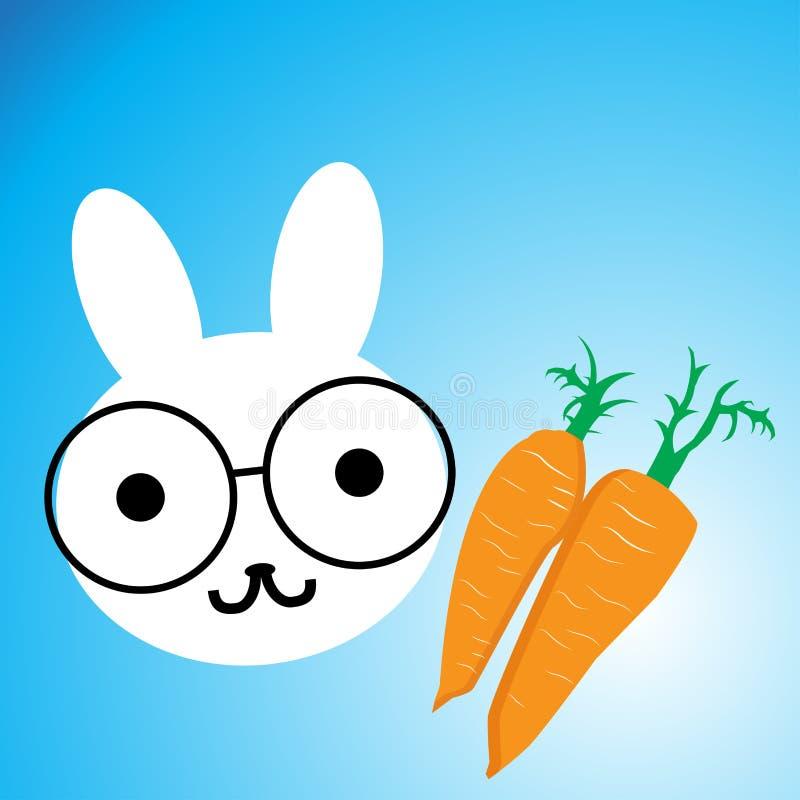 Beeldverhaalkonijn en wortelen vector illustratie
