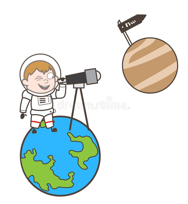 Beeldverhaalkosmonaut Watching Mars Planet door Telescoop Vectorillustratie vector illustratie