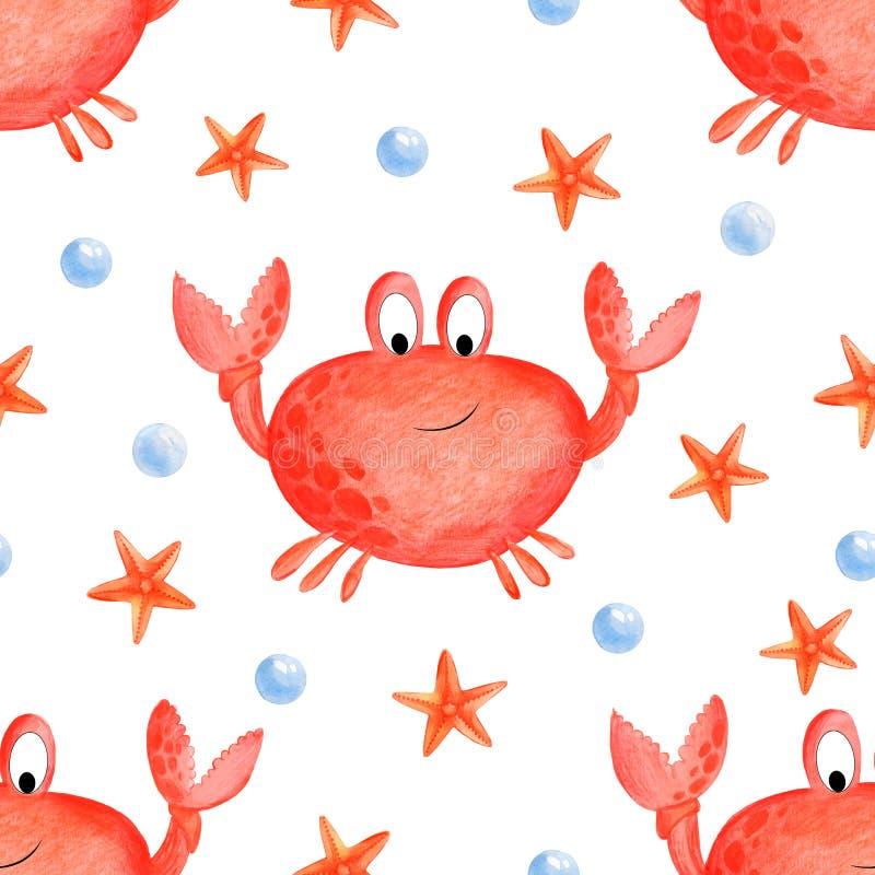 Beeldverhaalkrab Naadloze van het crabesbeeldverhaal illustratie als achtergrond van de achtergrond van het de zomerstrand vector illustratie