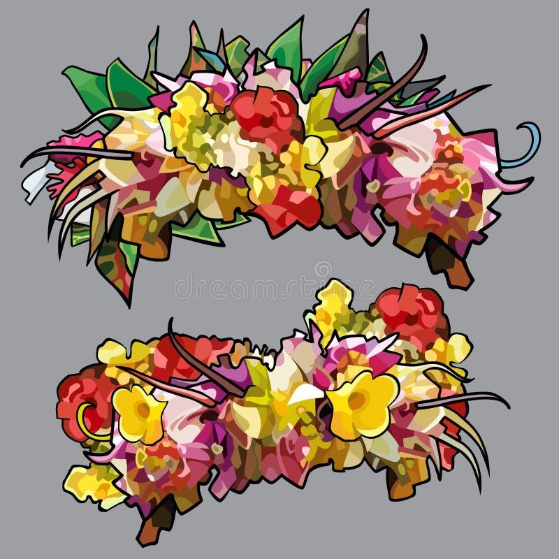 Beeldverhaalkronen van kleurrijke kleuren in twee versies vector illustratie