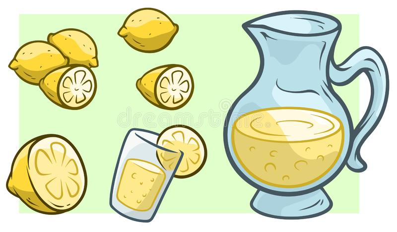 Beeldverhaalkruik met verse limonade en citroenen vector illustratie
