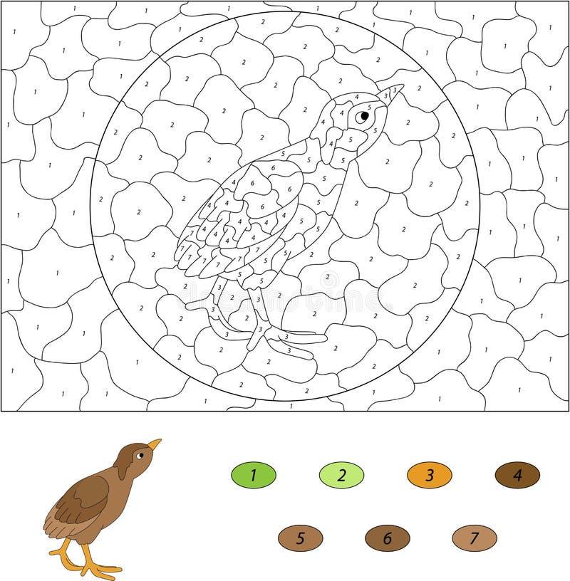 Beeldverhaalkuiken Kleur door aantal onderwijsspel voor jonge geitjes Vector royalty-vrije illustratie