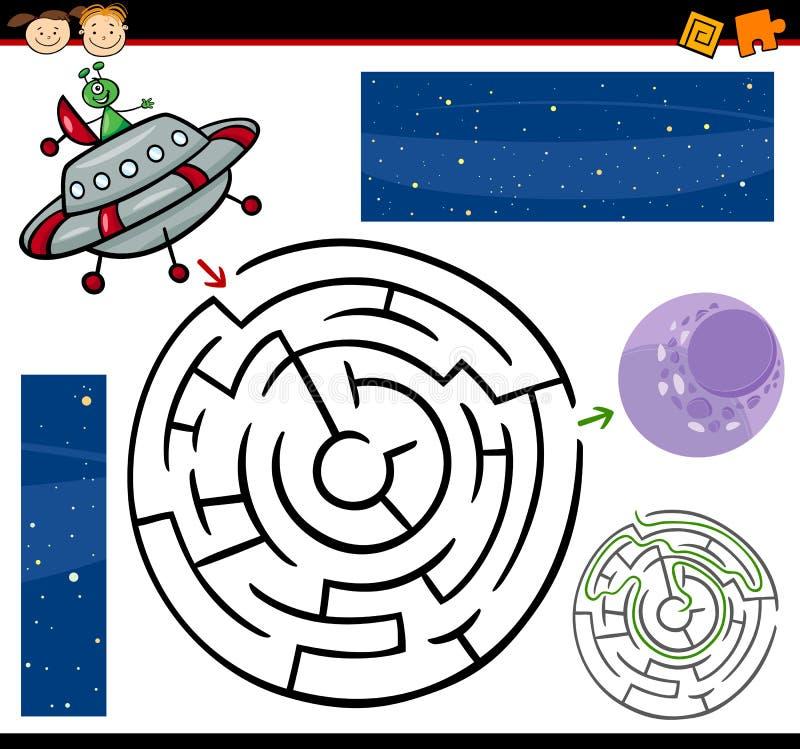 Beeldverhaallabyrint of labyrintspel royalty-vrije illustratie