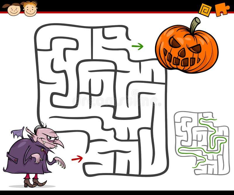 Beeldverhaallabyrint of labyrintspel stock illustratie