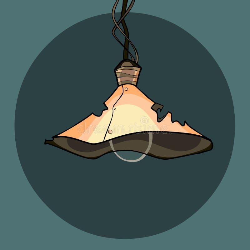 Beeldverhaallamp met een oude holey gebogen lampekap vector illustratie