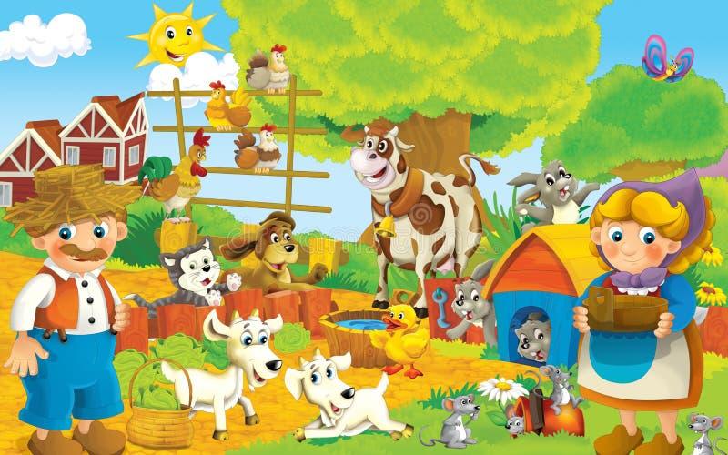 Beeldverhaallandbouwbedrijf - illustratie voor de kinderen vector illustratie