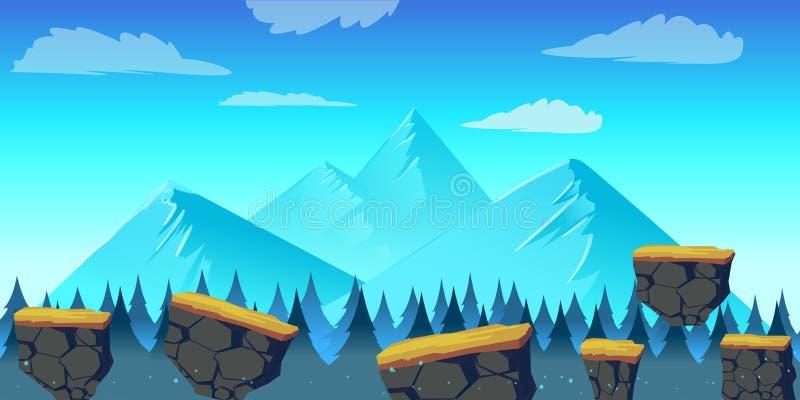 Beeldverhaallandschap voor spel, Vectorillustratie met afzonderlijke lagen Vector illustratie voor uw zoet water design royalty-vrije illustratie