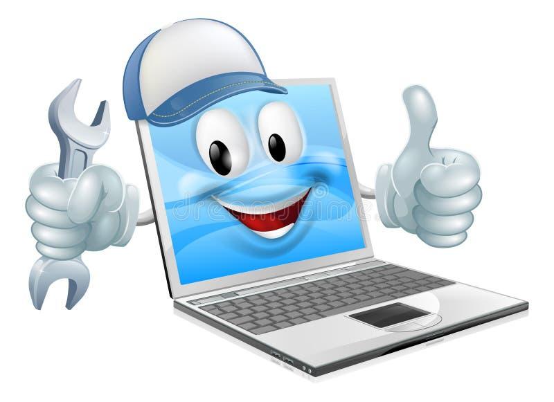 Beeldverhaallaptop de mascotte van de computerreparatie royalty-vrije illustratie