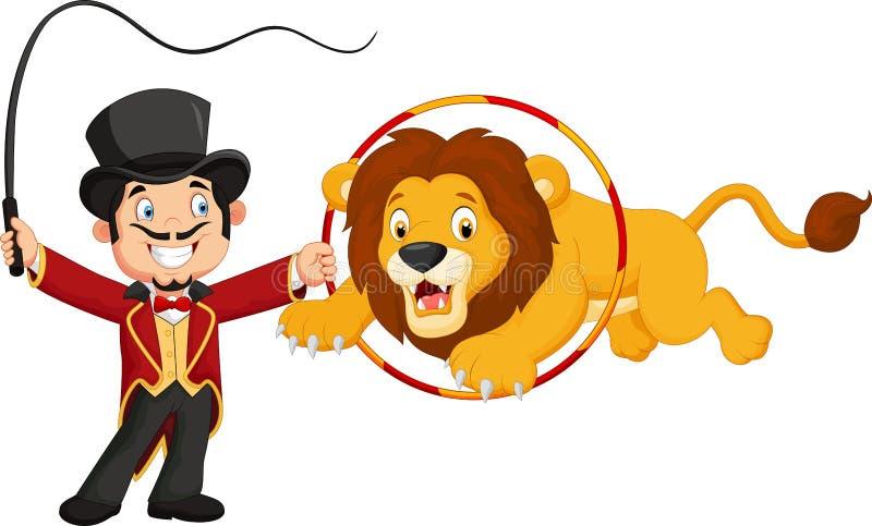Beeldverhaalleeuw die door ring springen royalty-vrije illustratie