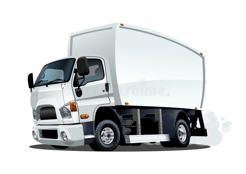 Beeldverhaallevering of ladingsvrachtwagen op witte achtergrond wordt geïsoleerd die stock illustratie