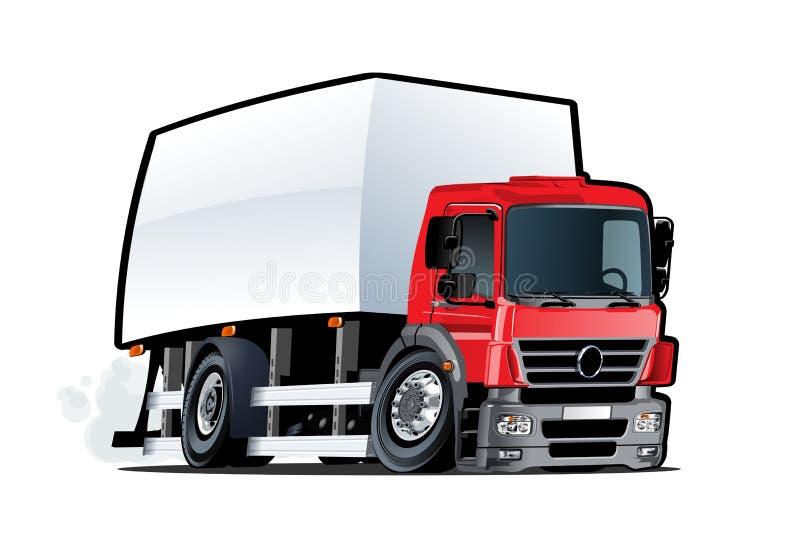 Beeldverhaallevering of ladingsvrachtwagen op witte achtergrond wordt geïsoleerd die royalty-vrije illustratie