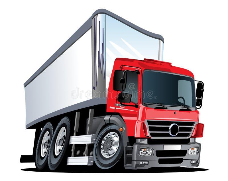Beeldverhaallevering of ladingsvrachtwagen op witte achtergrond wordt ge?soleerd die stock illustratie