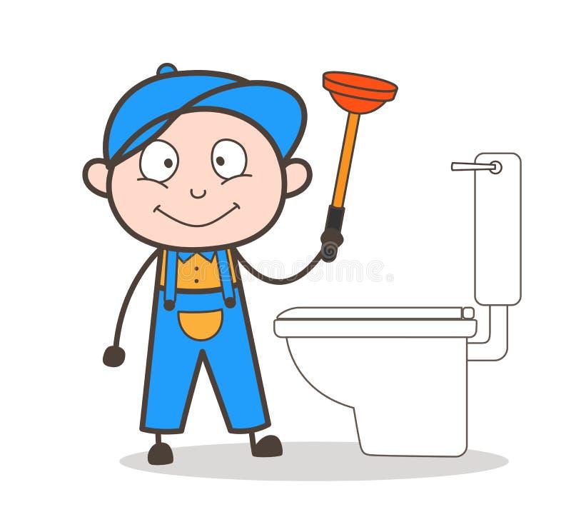 Beeldverhaalloodgieter Cleaning met Duikers Vectorillustratie vector illustratie