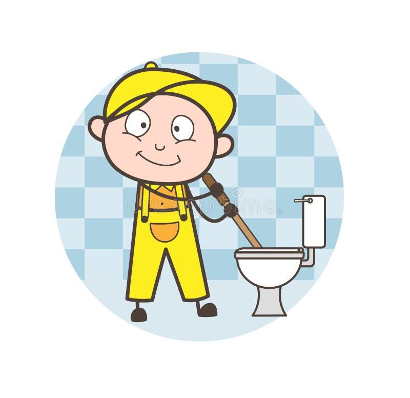 Beeldverhaalloodgieter Cleaning Toilet Seat en Badkamers Vectorillustratie stock illustratie