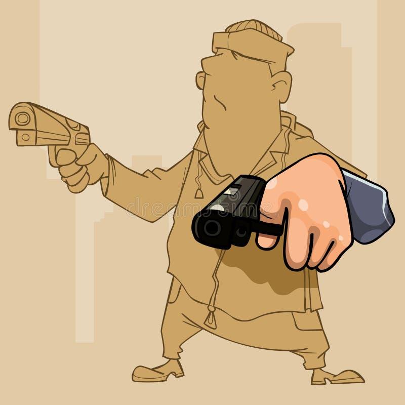 Beeldverhaalmannetje perp met pistool twee in zijn handen vector illustratie