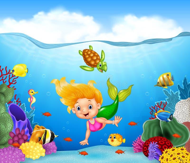 Beeldverhaalmeermin met mooie onderwaterwereld vector illustratie