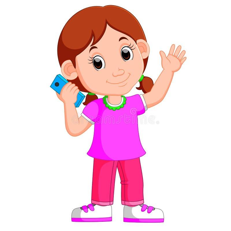 Beeldverhaalmeisje die een slimme telefoon met behulp van stock illustratie