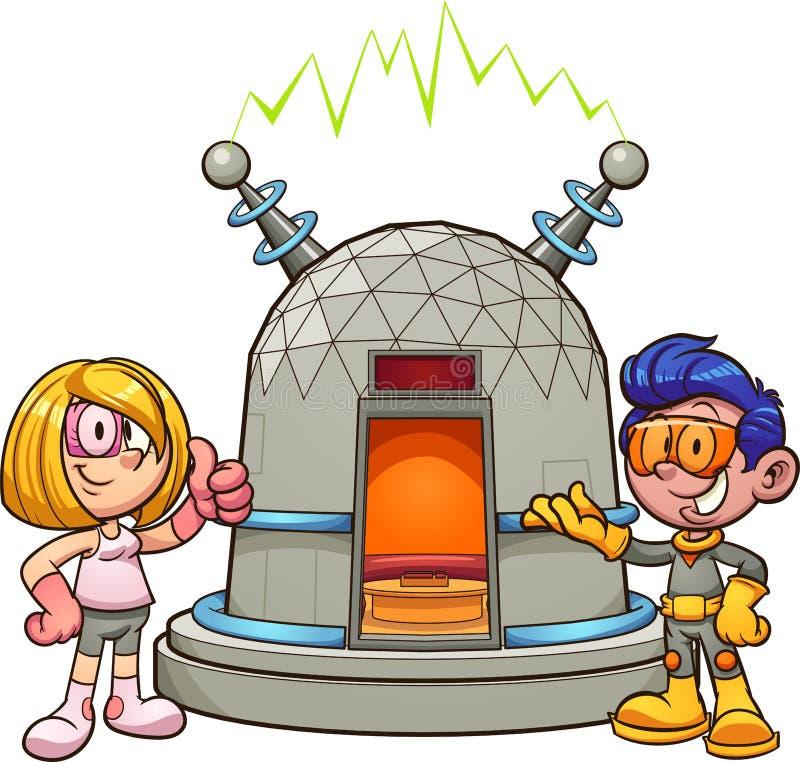 Beeldverhaalmeisje en jongen die retro futuristische kleren dragen die een tijdmachine tonen vector illustratie