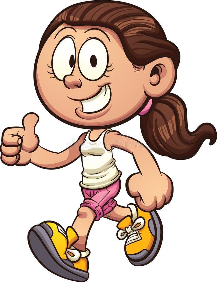 Beeldverhaalmeisje het lopen vector illustratie