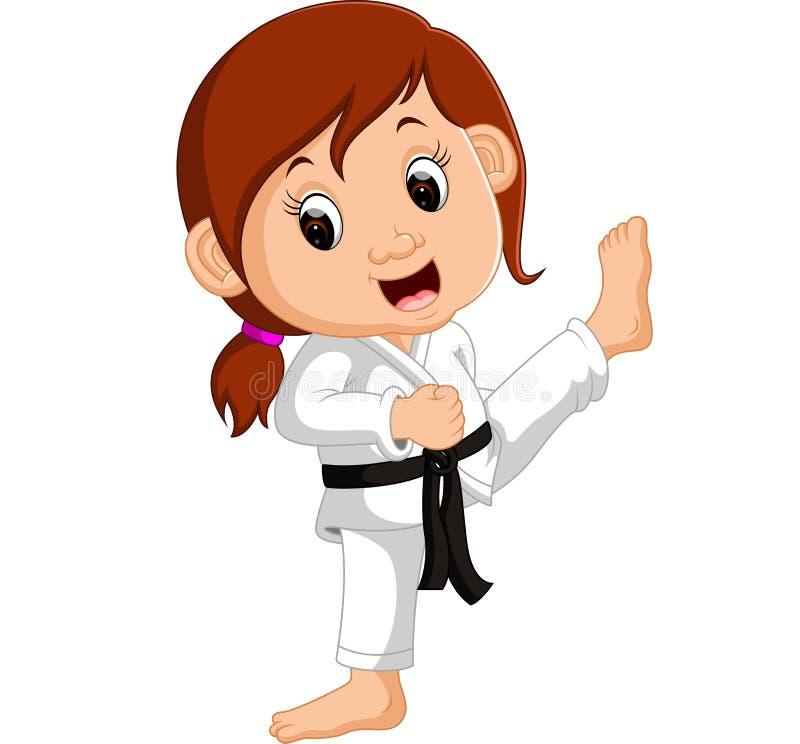 Beeldverhaalmeisje het praktizeren karate royalty-vrije illustratie