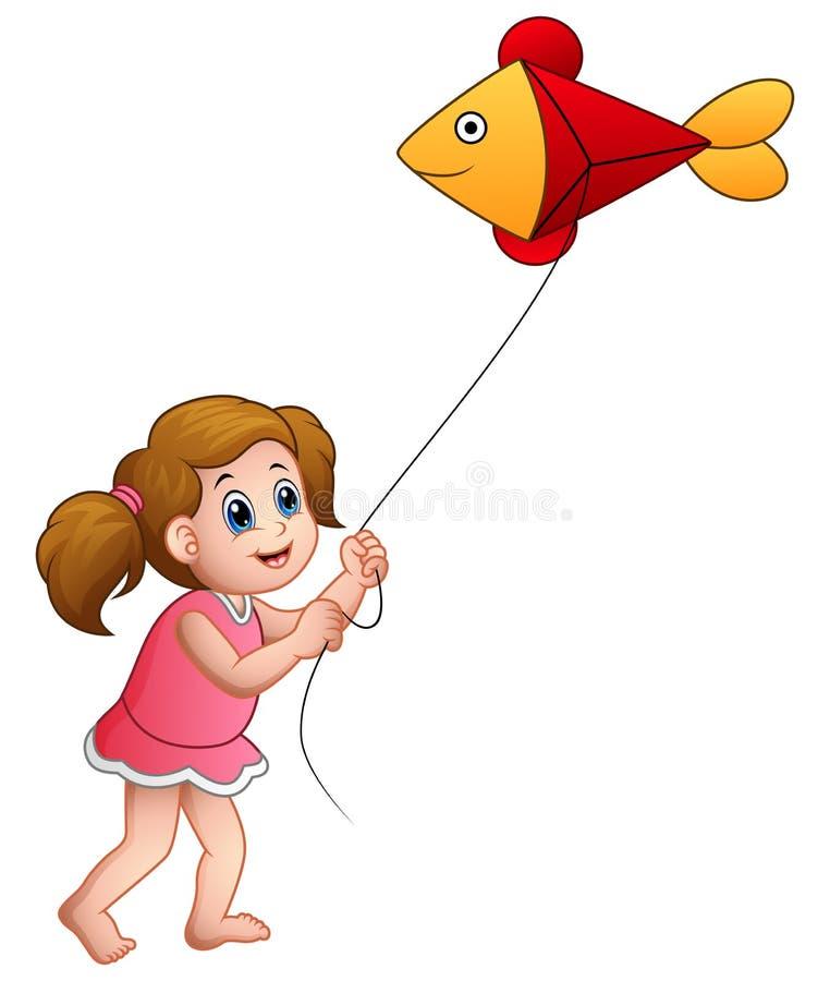 Beeldverhaalmeisje het spelen vlieger van vissen wordt gevormd die vector illustratie