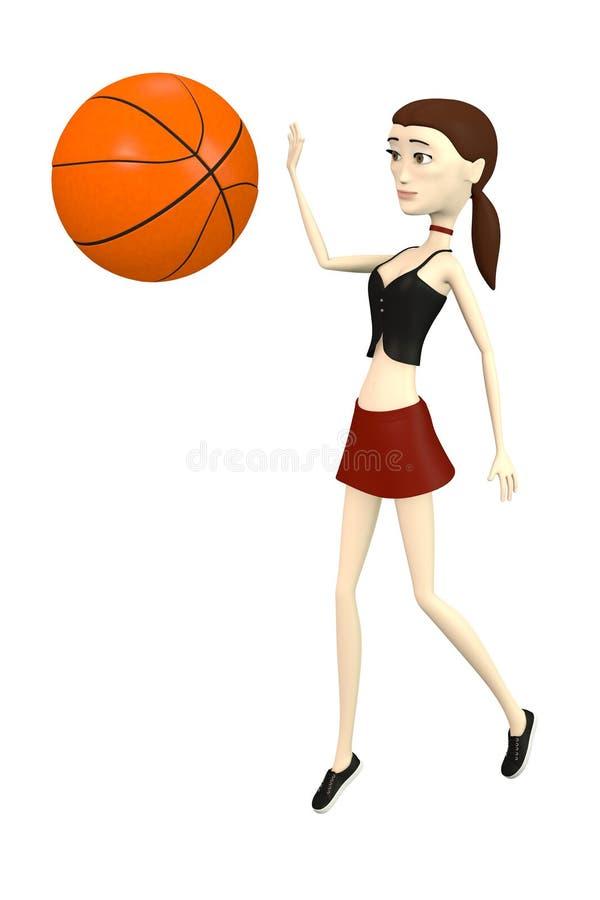 Download Beeldverhaalmeisje Met Basketbal Stock Illustratie - Illustratie bestaande uit beeldverhaal, illustratie: 29504803