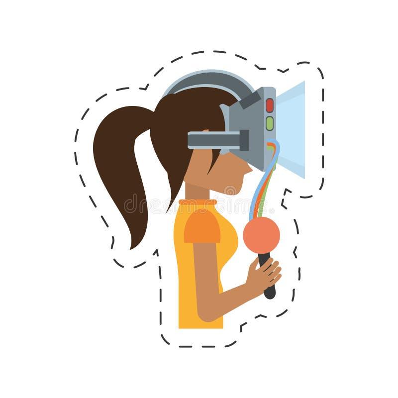 beeldverhaalmeisje met de controle van de vrhoofdtelefoon royalty-vrije illustratie