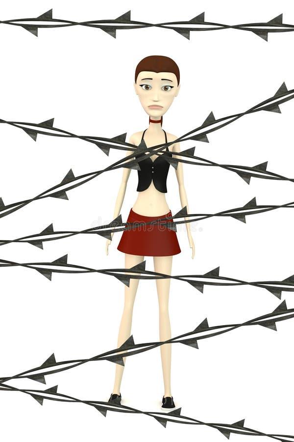 Download Beeldverhaalmeisje Met Prikkeldraad Stock Illustratie - Illustratie bestaande uit barbed, omheining: 29504871