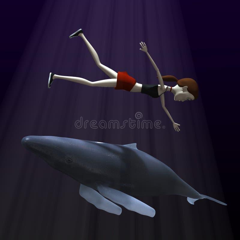 Download Beeldverhaalmeisje Met Walvis Stock Illustratie - Illustratie bestaande uit walvis, karakter: 29505216