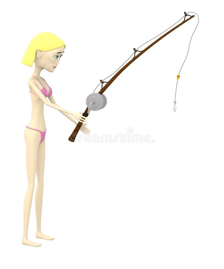 Download Beeldverhaalmeisje In Zwempak Met Vissen Stock Illustratie - Illustratie bestaande uit teruggegeven, stel: 29504912