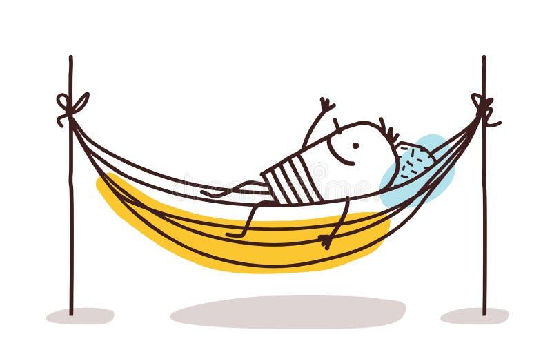Beeldverhaalmens die een rust in een hangmat hebben stock illustratie